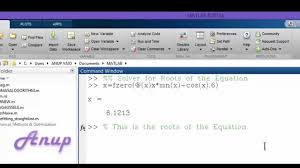 matlab solver roots of the equation