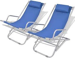 vidaXL <b>Reclining Deck Chairs 2</b> pcs Blue Steel 69x61x94 cm ...