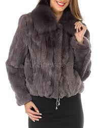 fur jacket rex rabbit fur with fox fur collar grey