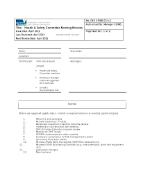 Agenda Template Word 2013 Health Committee Safety Agenda Template Safety Committee