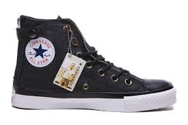 converse zipper high tops. black converse double zipper chuck taylor all star with leather buckle high tops canvas sneakers 0