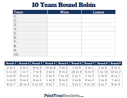 10 Team Single Elimination Bracket 10 Team Round Robin Printable Tournament Bracket