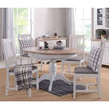 balm grey painted oak furniture round dining table and four chairs set