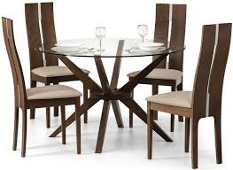 julian bowen chelsea round dining table and 4 cayman chairs walnut and glass cfs uk