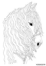 hand drawn horse head sketch for anti stress coloring book in zen