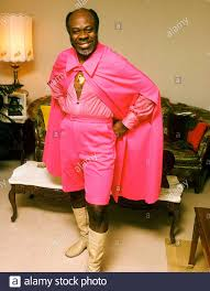 Rufus Thomas at home in Memphis wearing his outfit from the Watt Stax  concert 1973 Stock Photo - Alamy