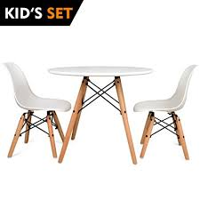 urbanmod kids eames style modern white table set round table with two 2 abs easy clean chairs highest strength capacity 330lbs safer chair height