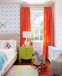 Kids Bedroom Curtains Kids Bedroom With Wallpaper And Orange Curtains Decorating With