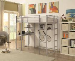 cst461086 trinidad collection silver finish metal frame twin loft bed with desk underneath