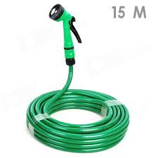 car wash nozzle spray head water with hose green 15m