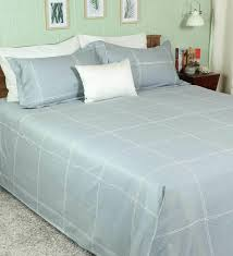 grey 100 cotton big checks super king bed sheet with 2 pillow covers by pizuna