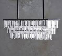 gemma crystal rectangle chandelier pottery barn pertaining to awesome household rectangle crystal chandelier designs
