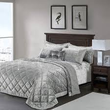 silver grey crushed velvet bedspread
