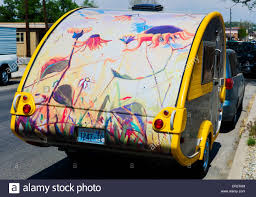 Small Car Camper Artwork Mural Hand Painted On A Small Recreational Vehicle Camper