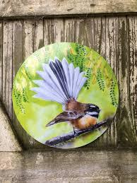 new zealand fantail bird circle outdoor garden or inside wall art panel 30cm on outdoor wall art new zealand with new zealand fantail bird circle outdoor garden or inside wall art