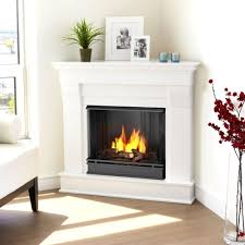 corner ventless gel fuel fireplace in white