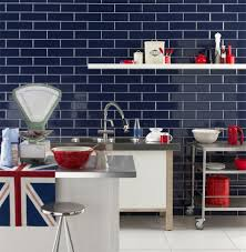 Wall Tiles For Kitchen Navy Bevelled Brick Tiles In Kitchen Google Search Kitchen