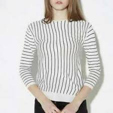 Haoduoyi Size Chart Details About Haoduoyi Womens Black And White Striped Knit Sweater With Slit Crew Neck Top