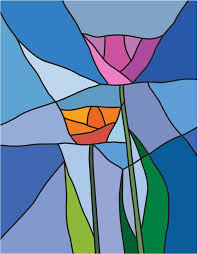 vector stained glass flowers vinyl wall mural backgrounds