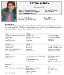 Child Actor Resume Sample Actors Example Ideal Imagine With Acting