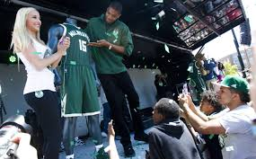 milwaukee bucks new uniforms. bucks player giannis antetokounmpo shows off the team\u0027s new jersey during an unveiling party saturday as milwaukee uniforms s