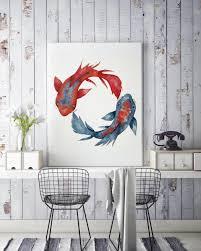 yin yang koi fish framed canvas wall decor watercolor painting japanese art red and blue artwork meditation art zuskaart on yin yang canvas wall art with yin yang koi fish framed canvas wall decor watercolor painting