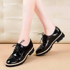 teahoo vintage oxford shoes for women brogues shoes womens perforated lace up wingtip patent leather flat oxfords skechers shoes mens dress shoes from