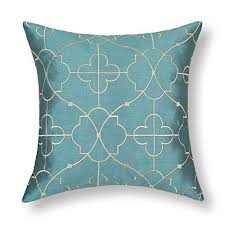 teal and gold pillows. Exellent Pillows Euphoria Cushion Covers Pillows Shell Teal Ground Soft Gold Floral  Geometric Figure Embroidery 18 On And L