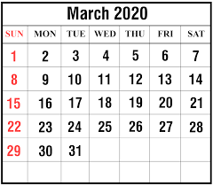 Word 2020 Calendars Free Download March 2020 Calendar Printable Templates Pdf