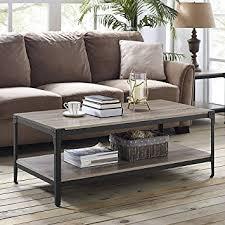 WE Furniture Angle Iron Rustic Wood Coffee Table   Driftwood
