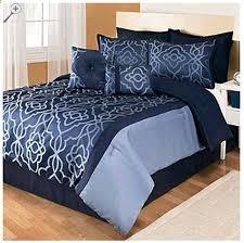 8 piece blue black comforter set bed