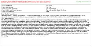 Wastewater Treatment Plant Operator Cover Letter Resume Cover