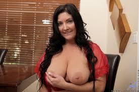 Big tits mom strips