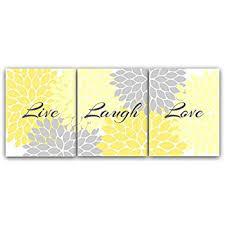 Home Decor Wall Art, Live Laugh Love, Yellow Wall Art, Flower Burst Bathroom