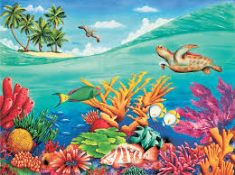 under the sea wall mural at surferbedding com