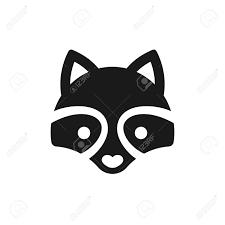 最小限のタヌキのアイコンやロゴのイラスト単純なベクトル スタイルで様式化された漫画の動物顔