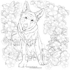 Depicted here are both puppies in realistic and animated settings for the little artists to paint and enjoy. Realistic German Shepherd Coloring Page For All Ages Etsy