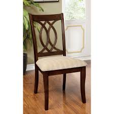 curved wooden carved design back side chair wood brown cherry set of 2 furniture of america redwood brown