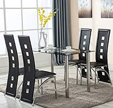 dining table chairs leather. 5 piece glass dining table set 4 leather chairs kitchen furniture l