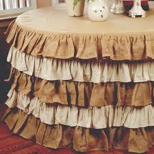 multi ruffle burlap and cream round tablecloth 5 feet