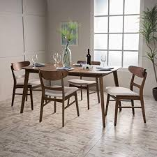 helen mid century fabric wood 5 piece dining set in walnut light