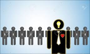 concept illustration of leadership a row of candidates or concept illustration of leadership a row of candidates or employers or people question marks in