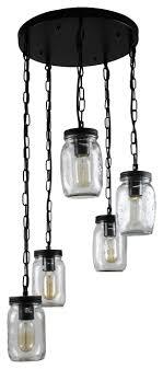 glass mason jar pendant light chandelier 5 light