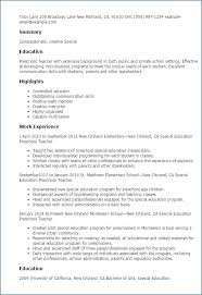 Preschool Teacher Resume Simple Preschool Teacher Resume New Resume For Preschool Teacher