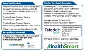 Healthsmart Id Card Member Your Using