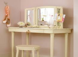 vintage white stoned top wooden makeup vanity table featuring square folding mirror with white wooden seat and single nickel pull drawer