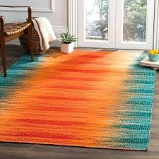 hand woven teal red wool area rug and runner teal red orange rug