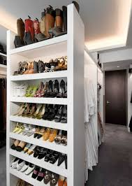 center shoe racks and recessed lighting also concrete