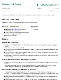 daily lesson log format elements of poetry lesson plan education com lesson plan