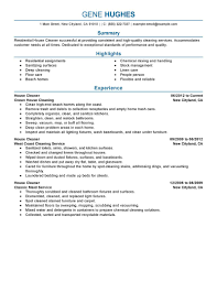 Cleaning Sample Resume Resume For Your Job Application